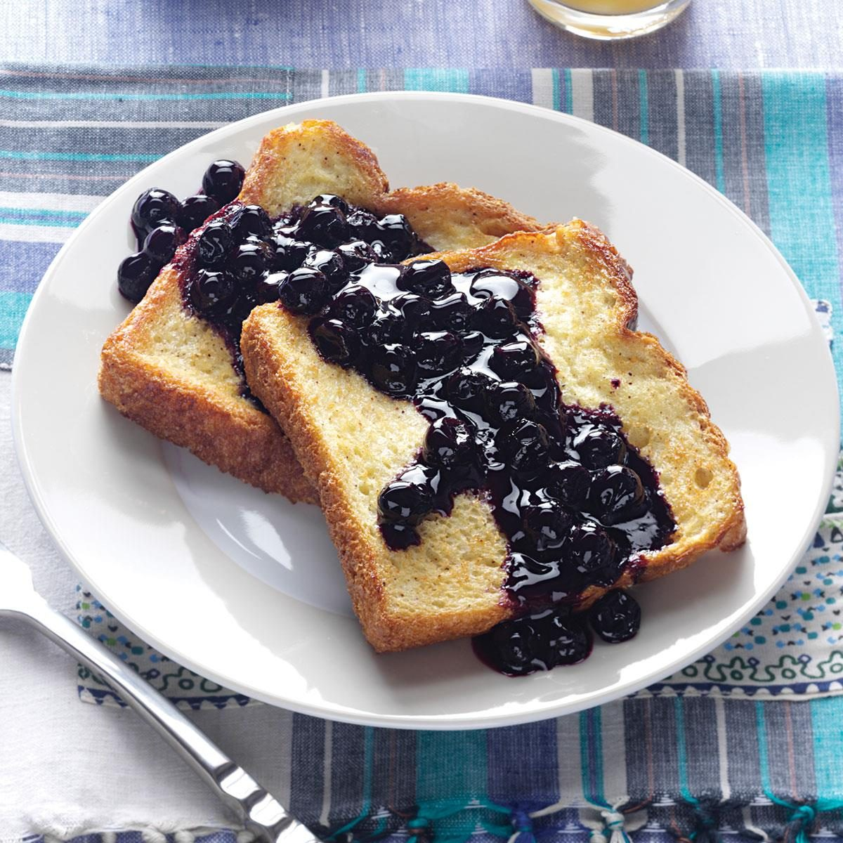 Baked French Toast with Blueberry Sauce Recipe | Taste of Home