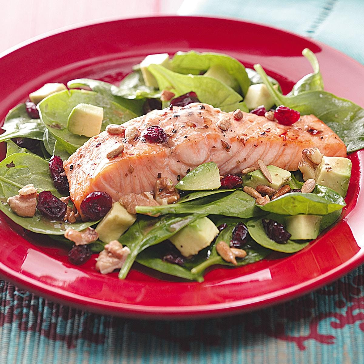Balsamic-Salmon Spinach Salad Recipe | Taste of Home