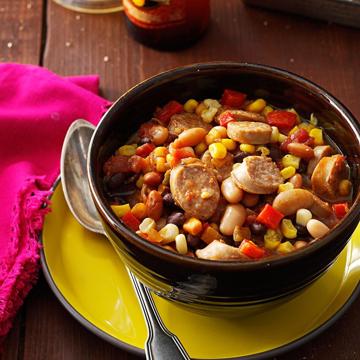 Slow Cooker Spicy Chicken Chili with Beer Biscuits..