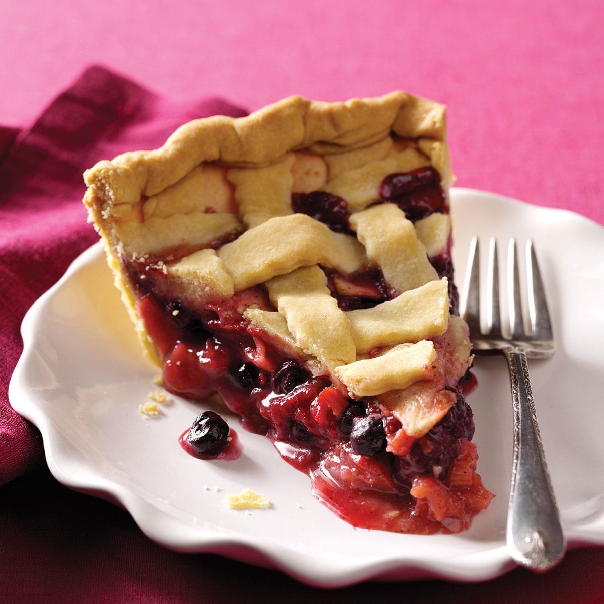Berry Apple Rhubarb Pie Recipe Taste Of Home