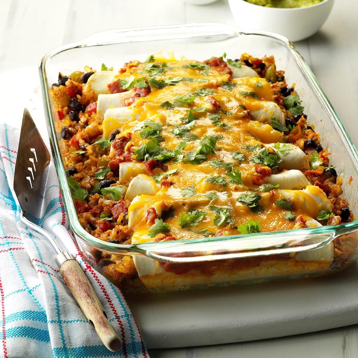 Top 10 vegetarian dinners taste of home black bean and rice enchiladas forumfinder Choice Image