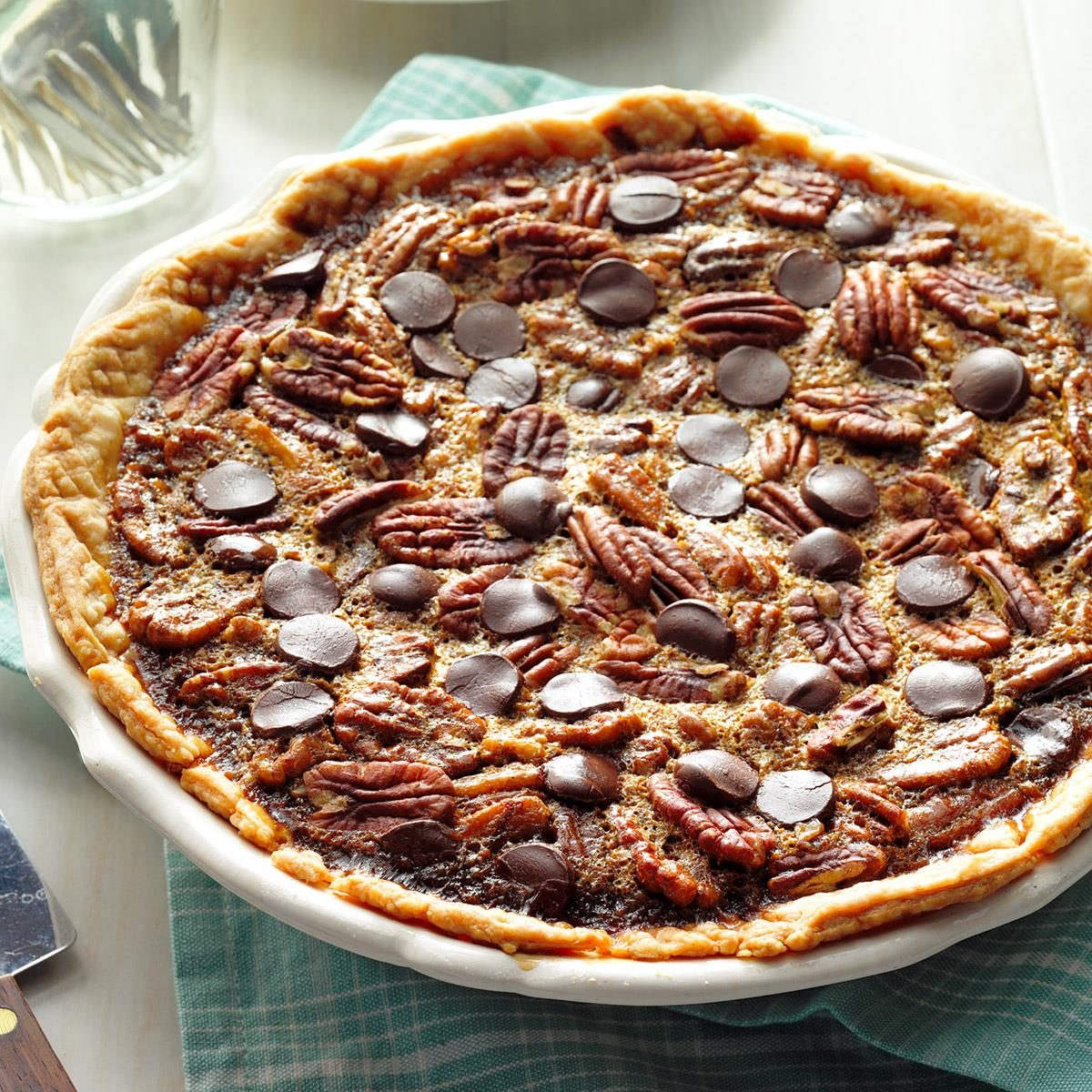 chocolate bourbon pecan pie bourbon chocolate pecan pie recipe taste of home 12041