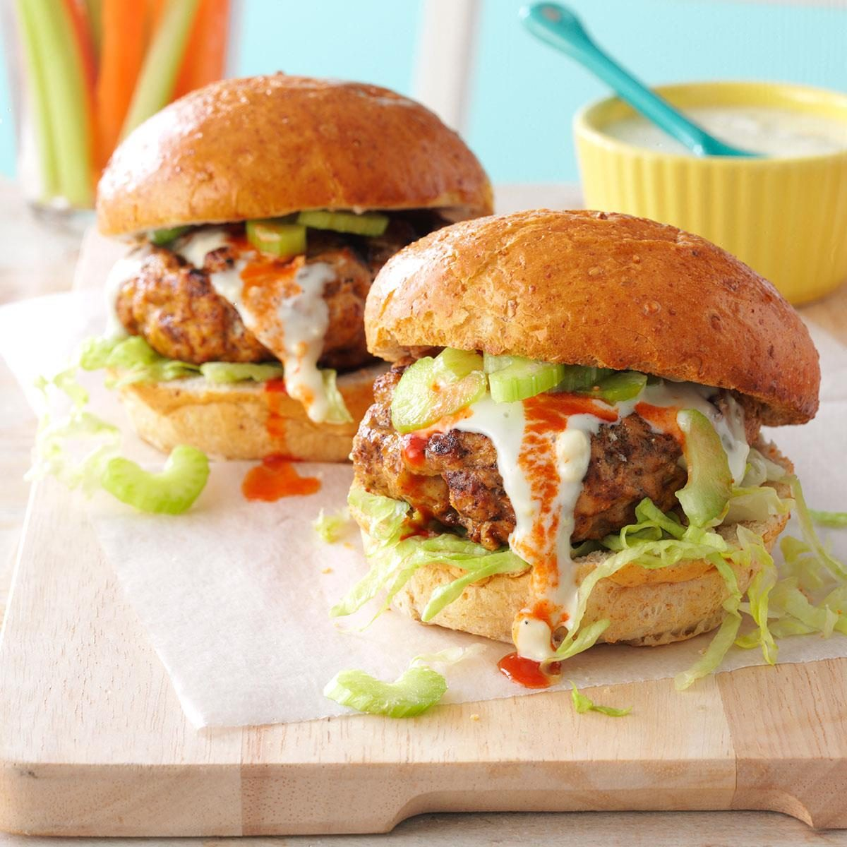 Buffalo Turkey Burgers Recipe | Taste of Home