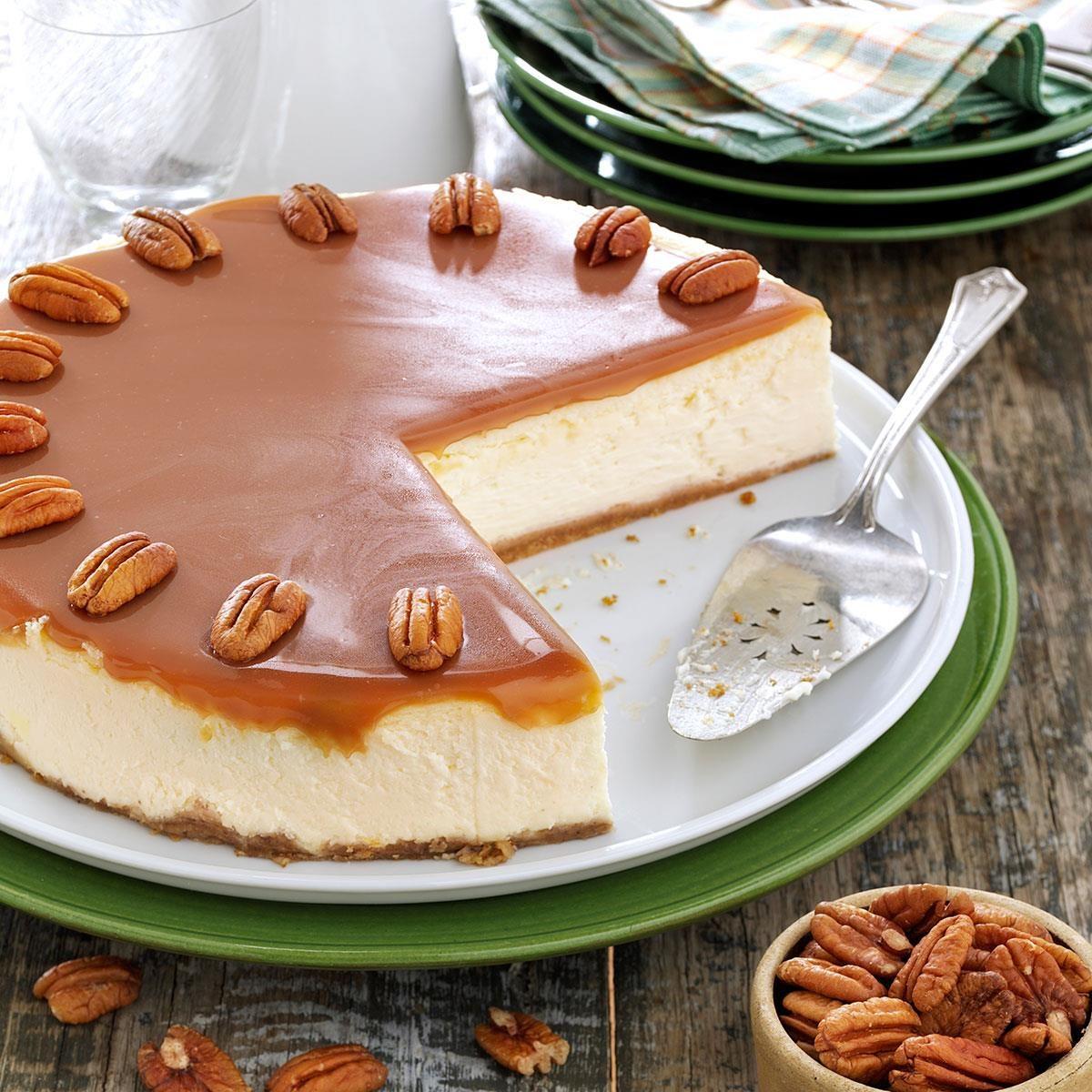 Caramel Praline Cheesecake Recipe | Taste of Home