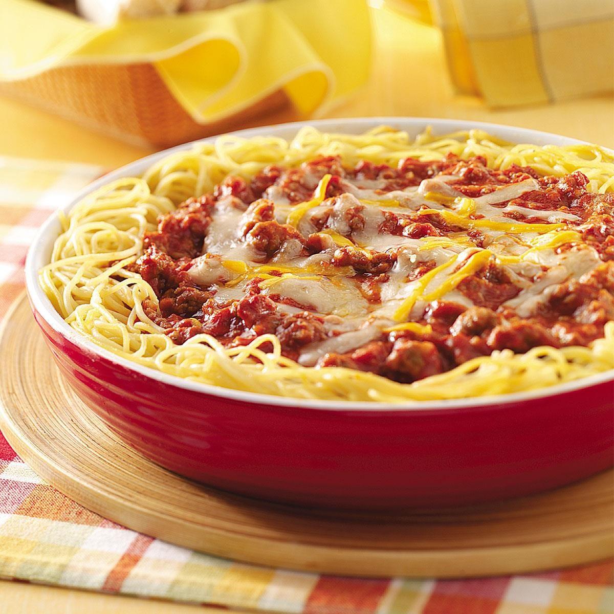 70 Saucy Creamy And Cheesy Italian Christmas Food Recipes: Cheesy Sausage Spaghetti Pie Recipe