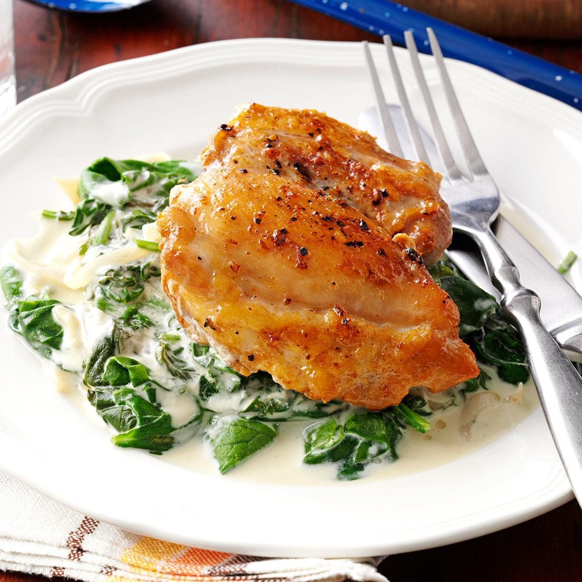 Chicken Thighs with Shallots & Spinach Recipe | Taste of Home