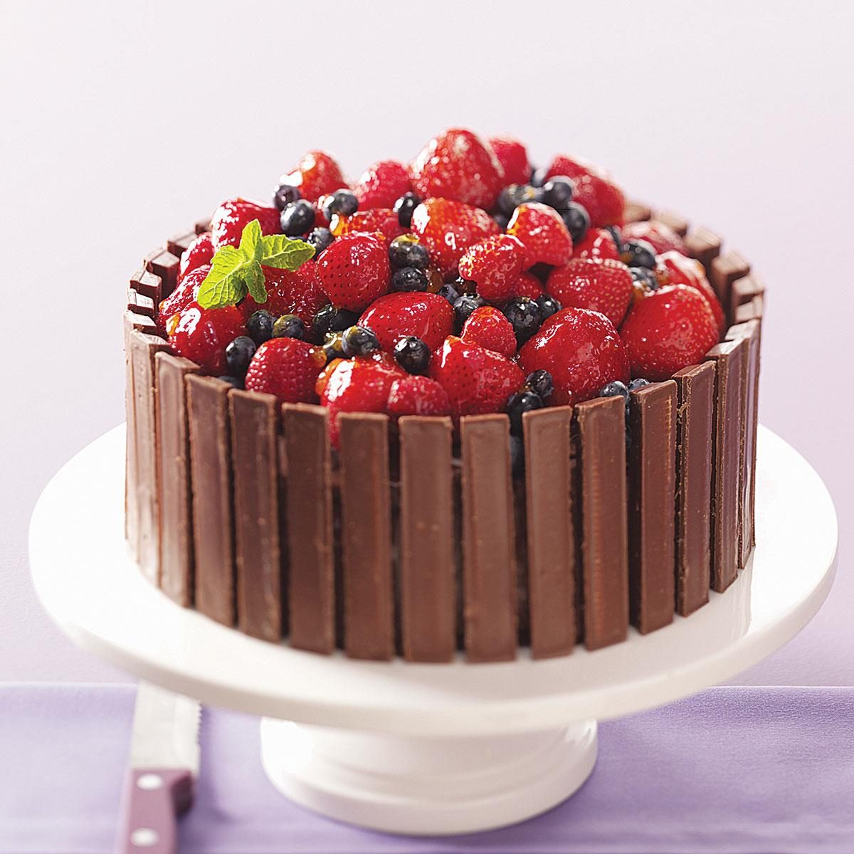 Chocolate Fruit Basket Cake Recipe | Taste of Home