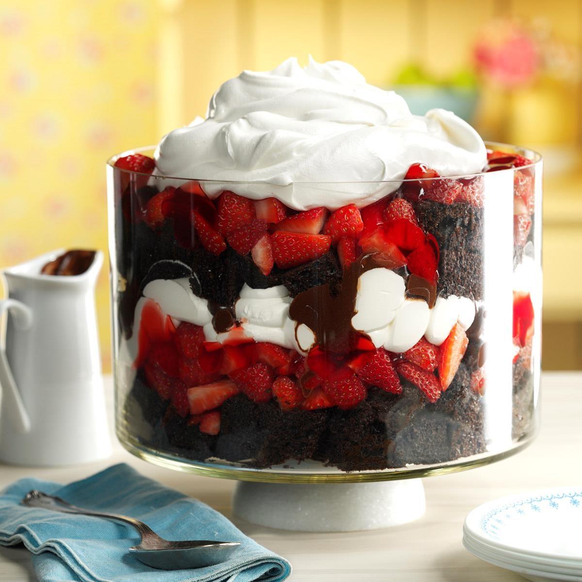 Chocolate Strawberry Punch Bowl Trifle Recipe