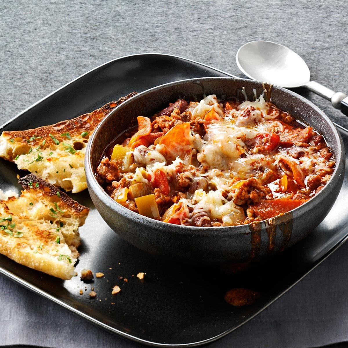Contest-Winning Pepperoni Pizza Chili Recipe