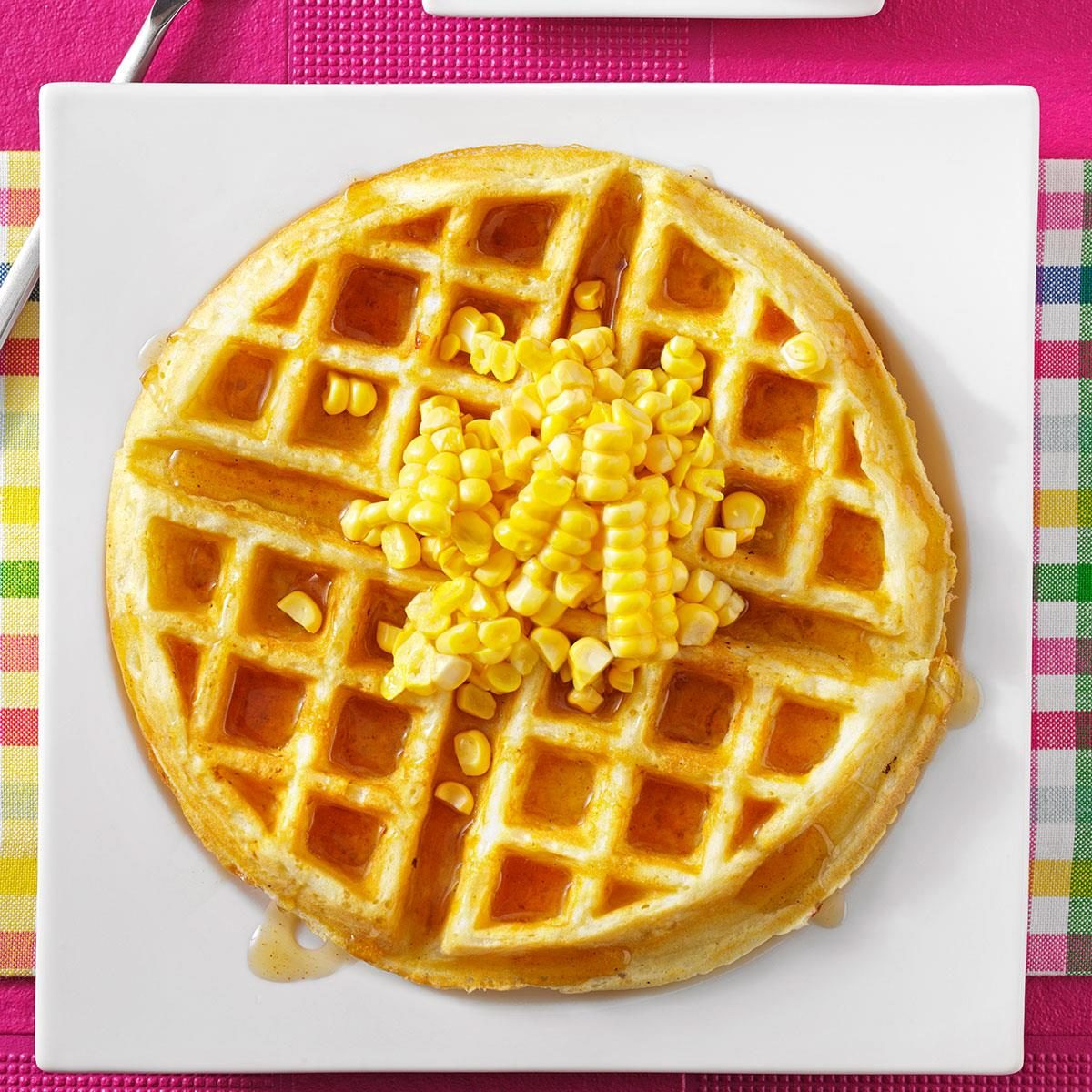 Corn Fritter Waffles with Spicy Maple Syrup Recipe | Taste ...