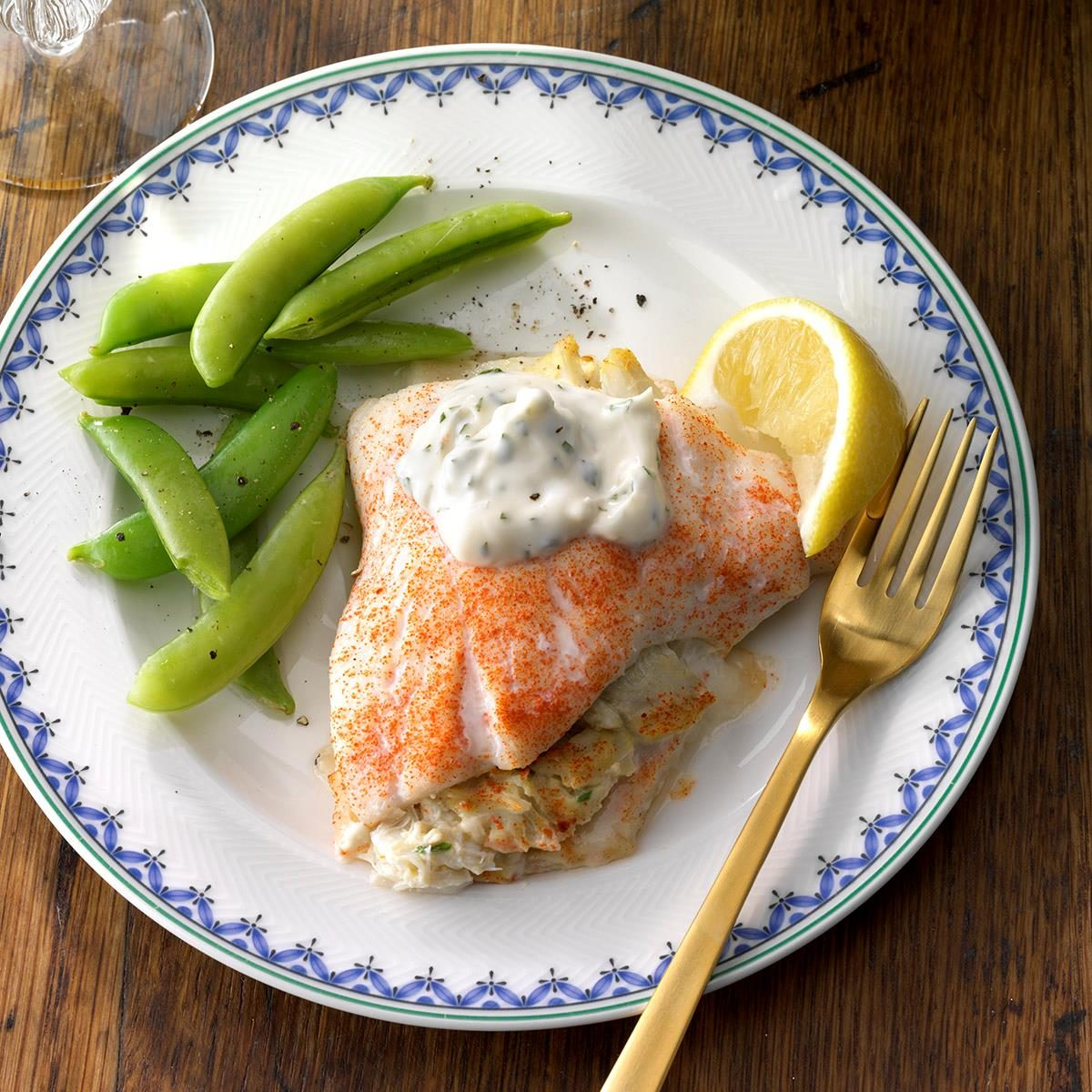 Crab-Stuffed Flounder with Herbed Aioli Recipe | Taste of Home