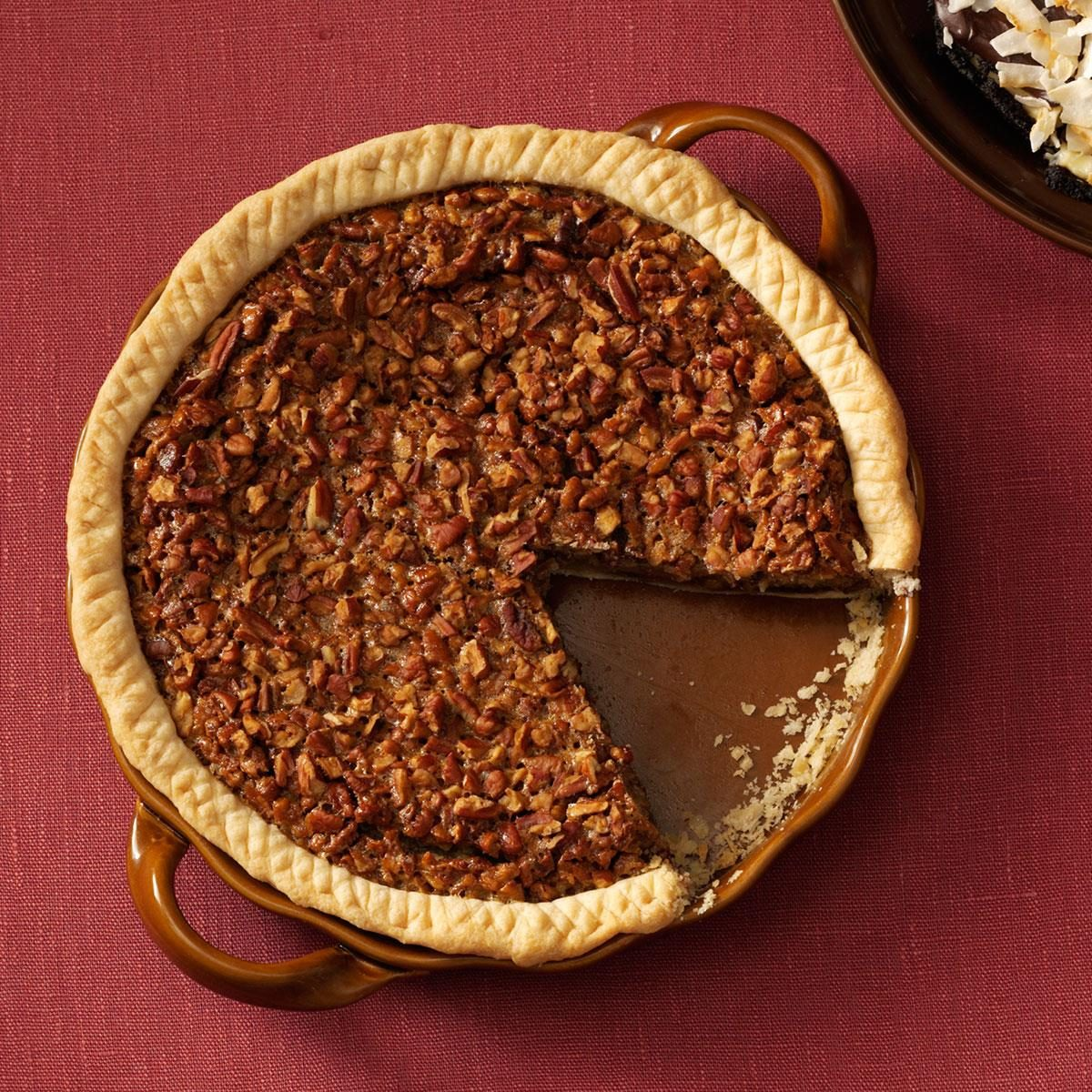 chocolate bourbon pecan pie easy bourbon chocolate pecan pie recipe taste of home 12041