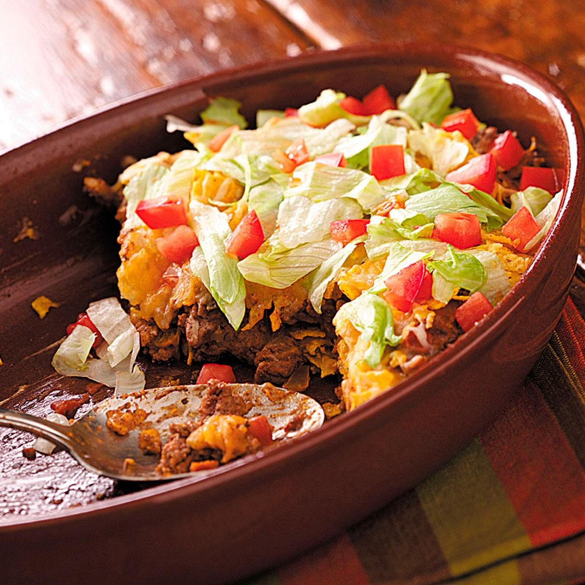 easy taco casserole This family pleasing quick & easy taco casserole recipe whips up in just 15 minutes, and is ready to eat in just 45 great go-to meal for busy weeknights get free.