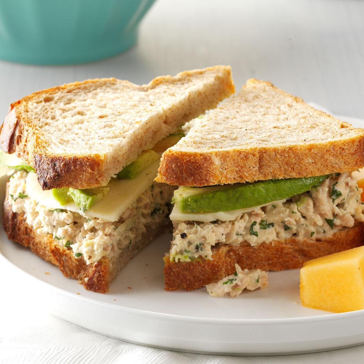Cilantro avocado tuna salad sandwiches recipe taste of home for Tuna and egg sandwich