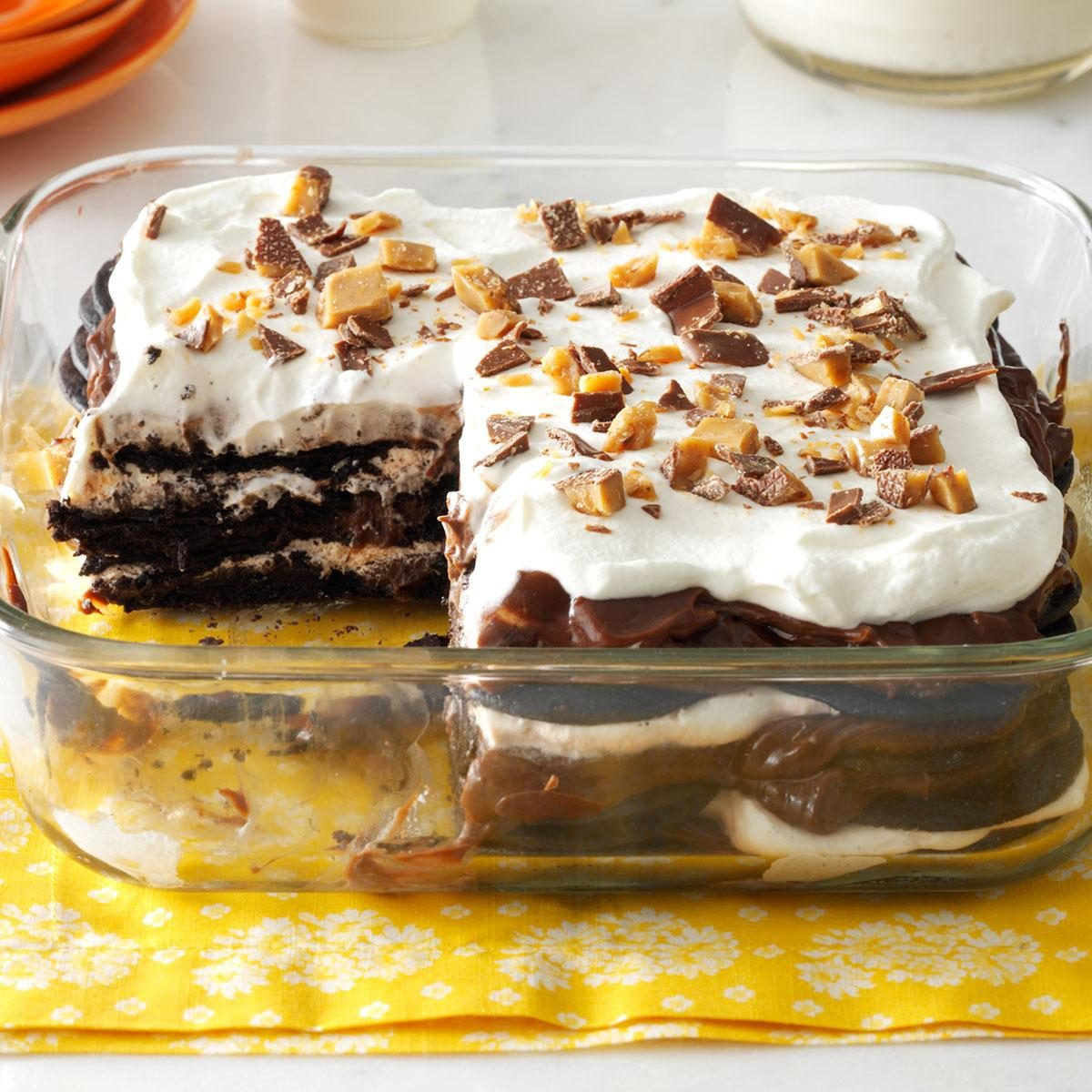 Double chocolate toffee icebox cake recipe taste of home for Quick dessert recipes with pictures