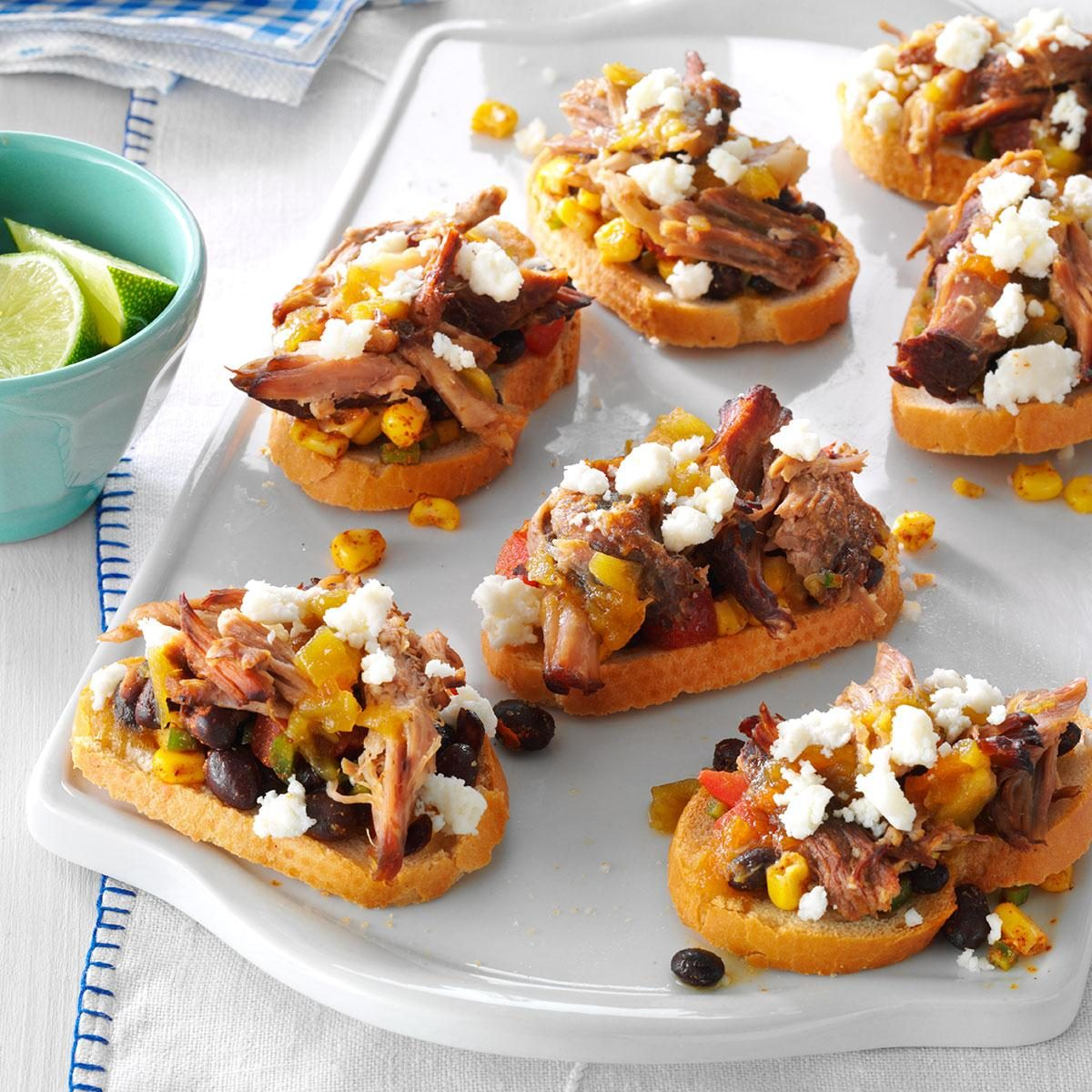 Southwestern Pulled Pork Crostini Recipe Taste Of Home