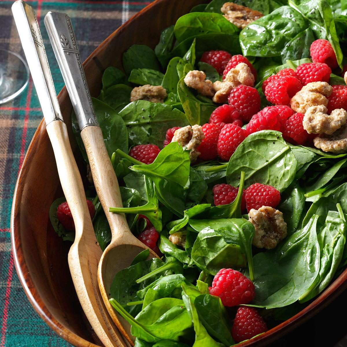 Spinach Salad With Raspberries & Candied Walnuts Recipe