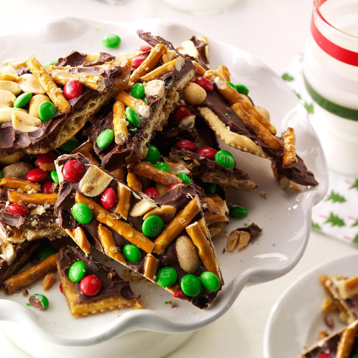 Chocolate peanut pretzel toffee crisps recipe taste for Easy holiday baking recipes for gifts