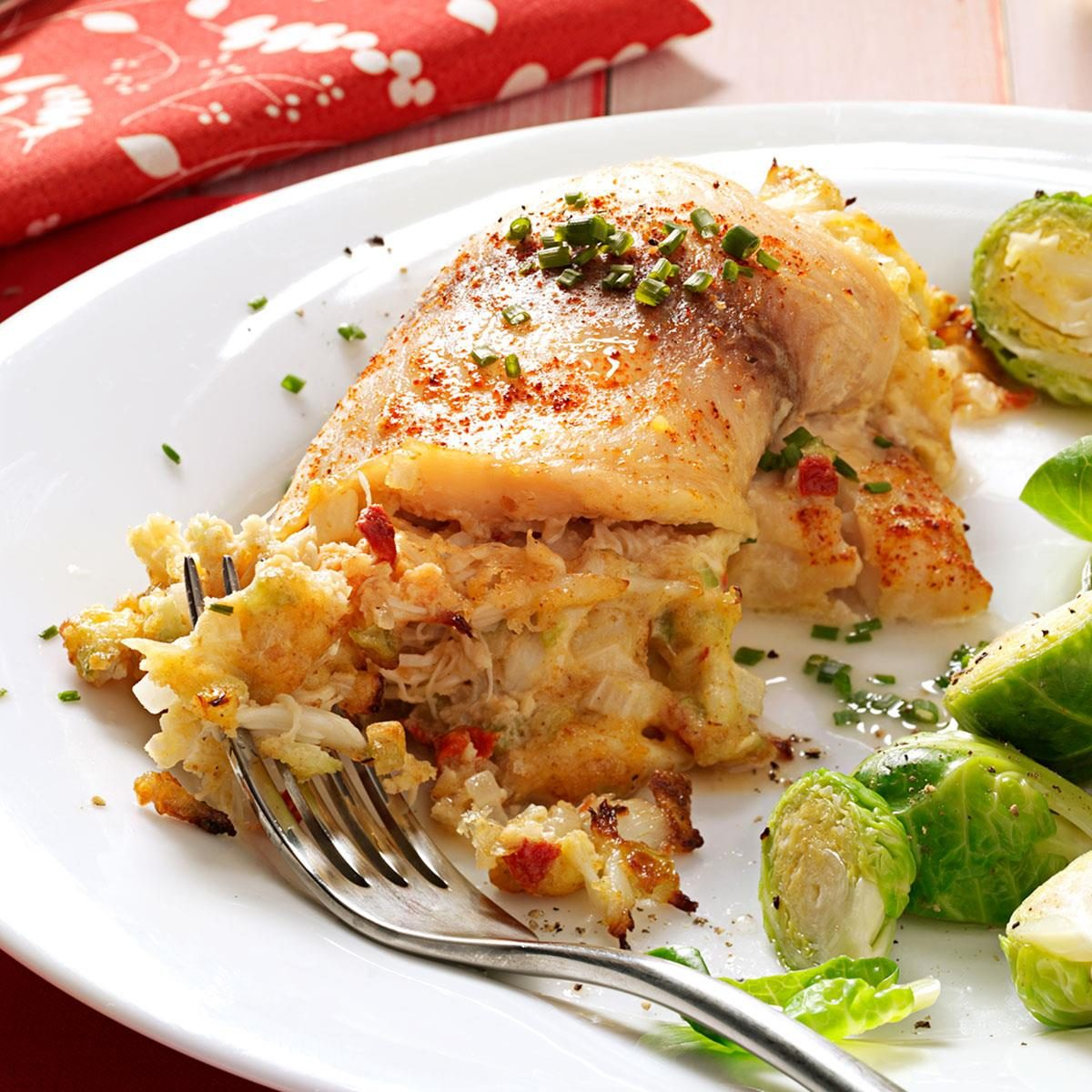 Crab stuffed tilapia recipe taste of home for Crab stuffed fish