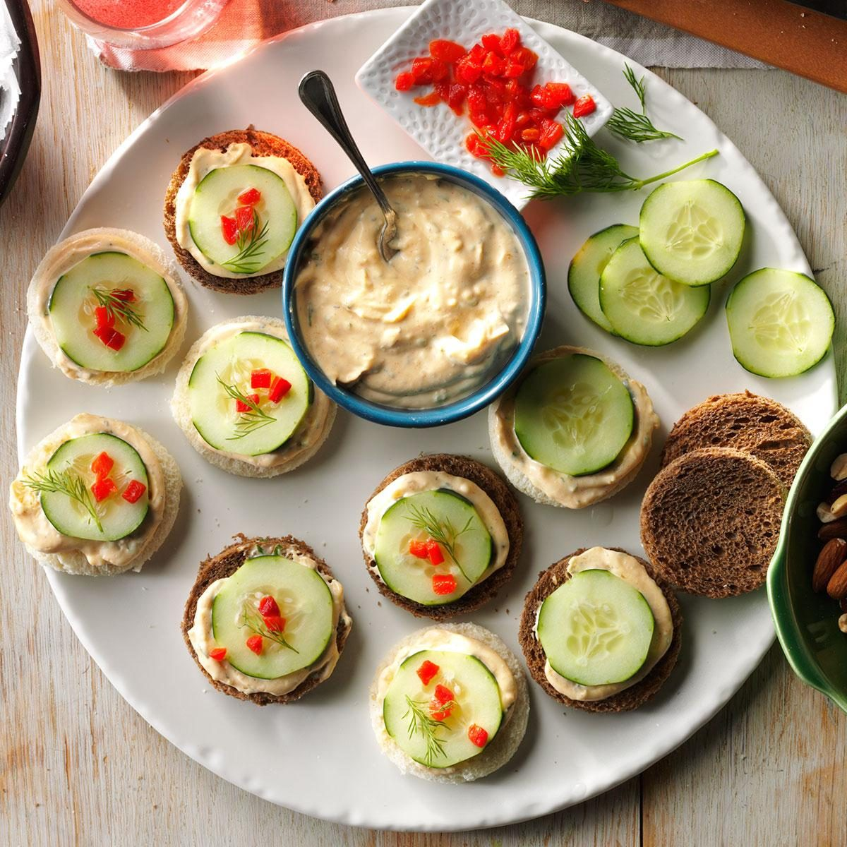Cucumber canapes recipe taste of home for Canape dessert ideas
