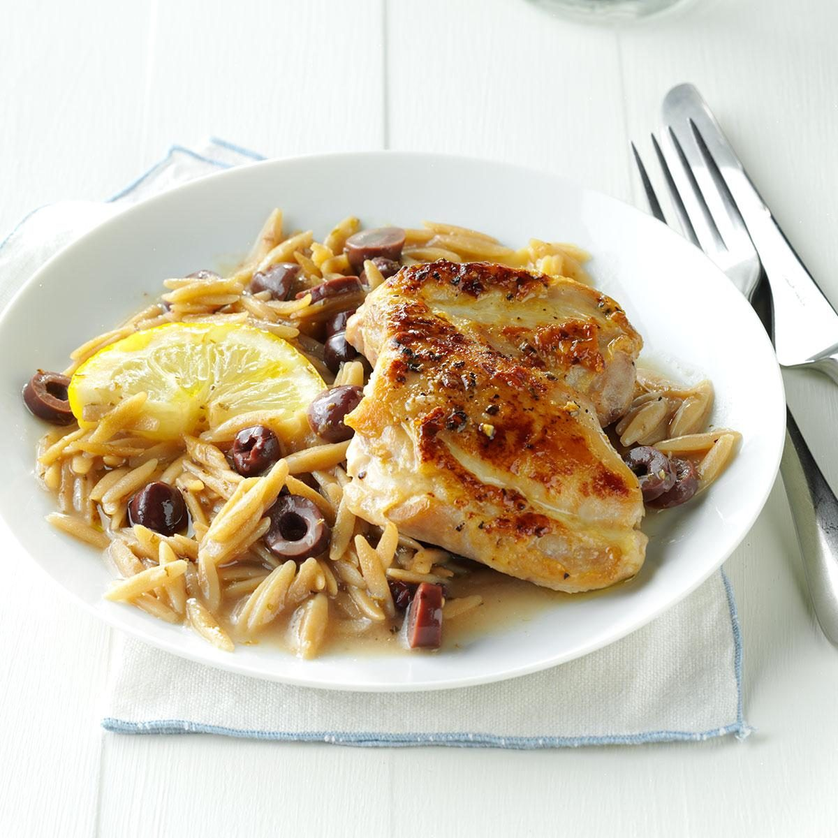 Lemon-Olive Chicken with Orzo Recipe   Taste of Home