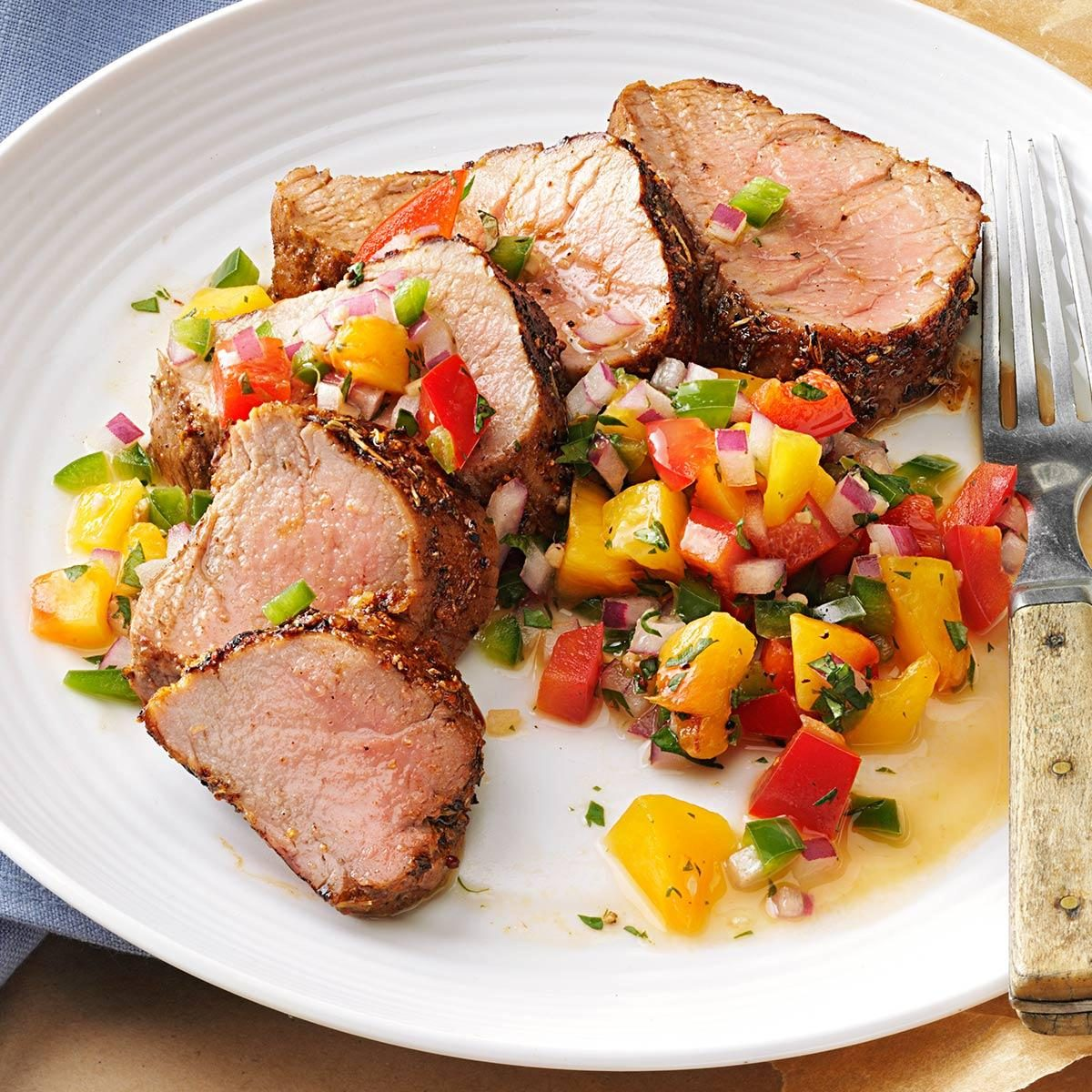 easy home cooked dinner ideas. caribbean-spiced pork tenderloin with peach salsa easy home cooked dinner ideas