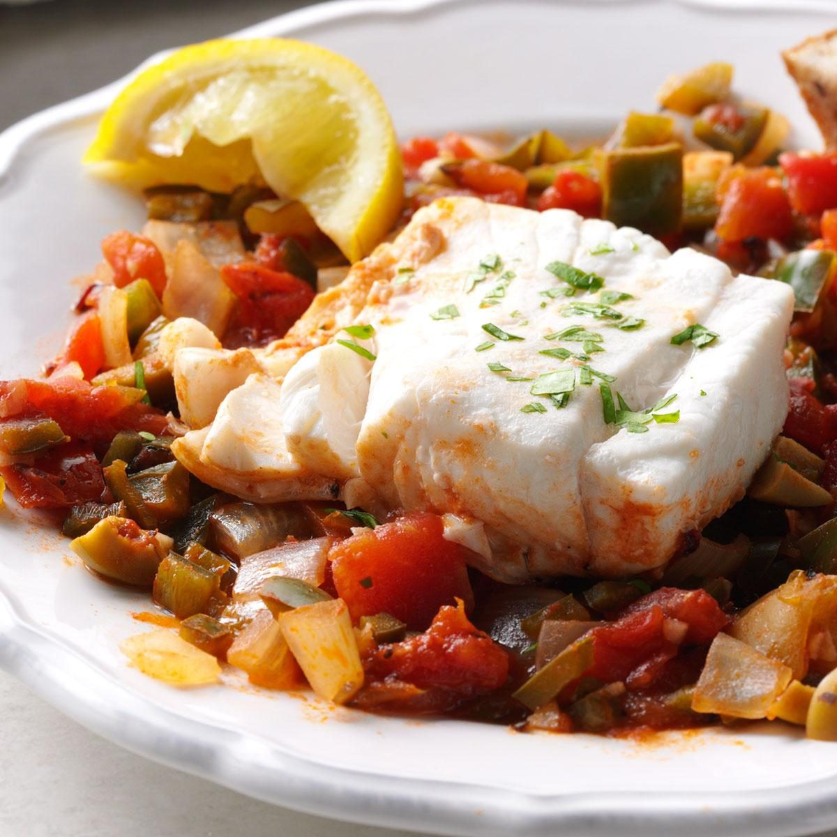 50 christmas eve dinner ideas taste of home tomato poached halibut forumfinder Gallery