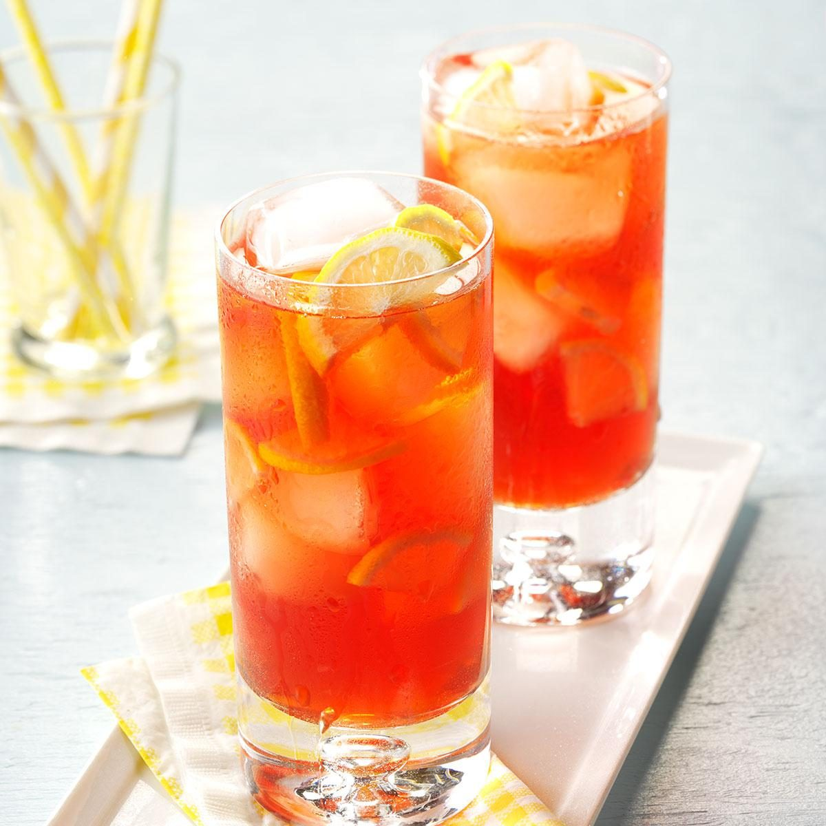 Raspberry iced tea recipe taste of home for Tea and liquor recipes