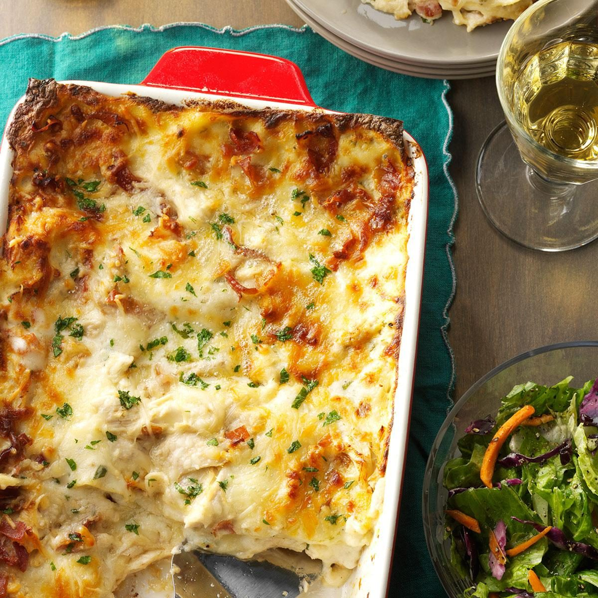 Chicken alfredo lasagna recipe taste of home for What can i make for dinner with chicken