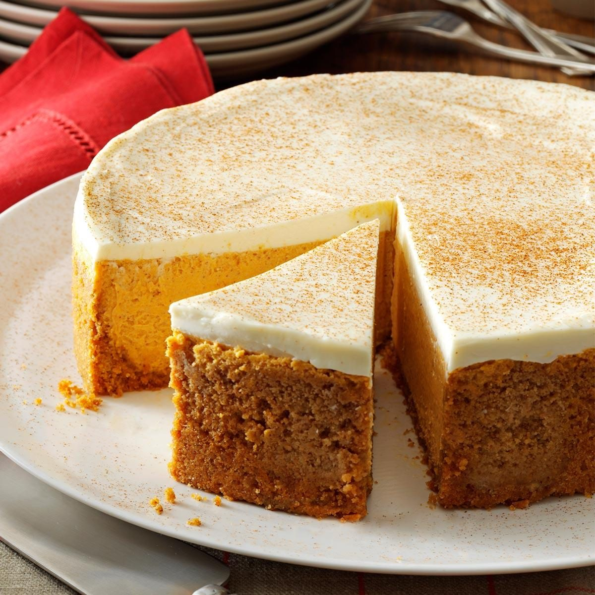 Pumpkin Cheesecake with Sour Cream Topping Recipe | Taste ...