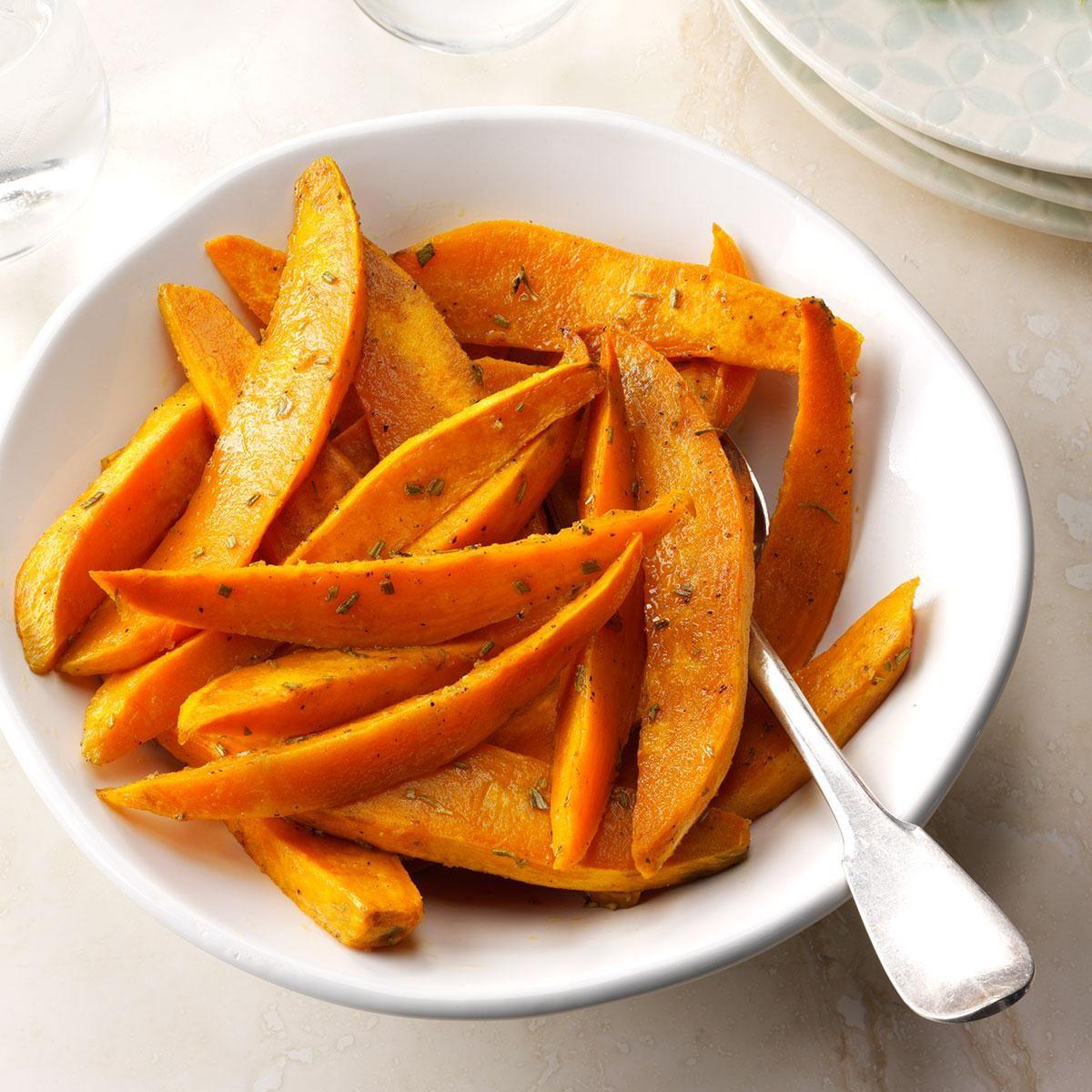 Simple Roasted Sweet Potatoes: Roasted Sweet Potatoes With Dijon & Rosemary Recipe