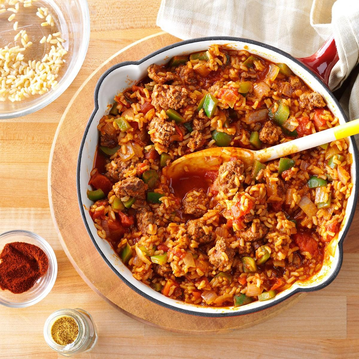 old fashioned spanish rice with ground beef