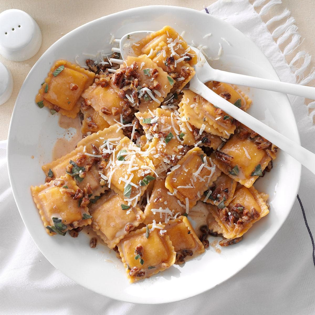 Sage pecan butternut squash ravioli recipe taste of home for What to serve with butternut squash ravioli