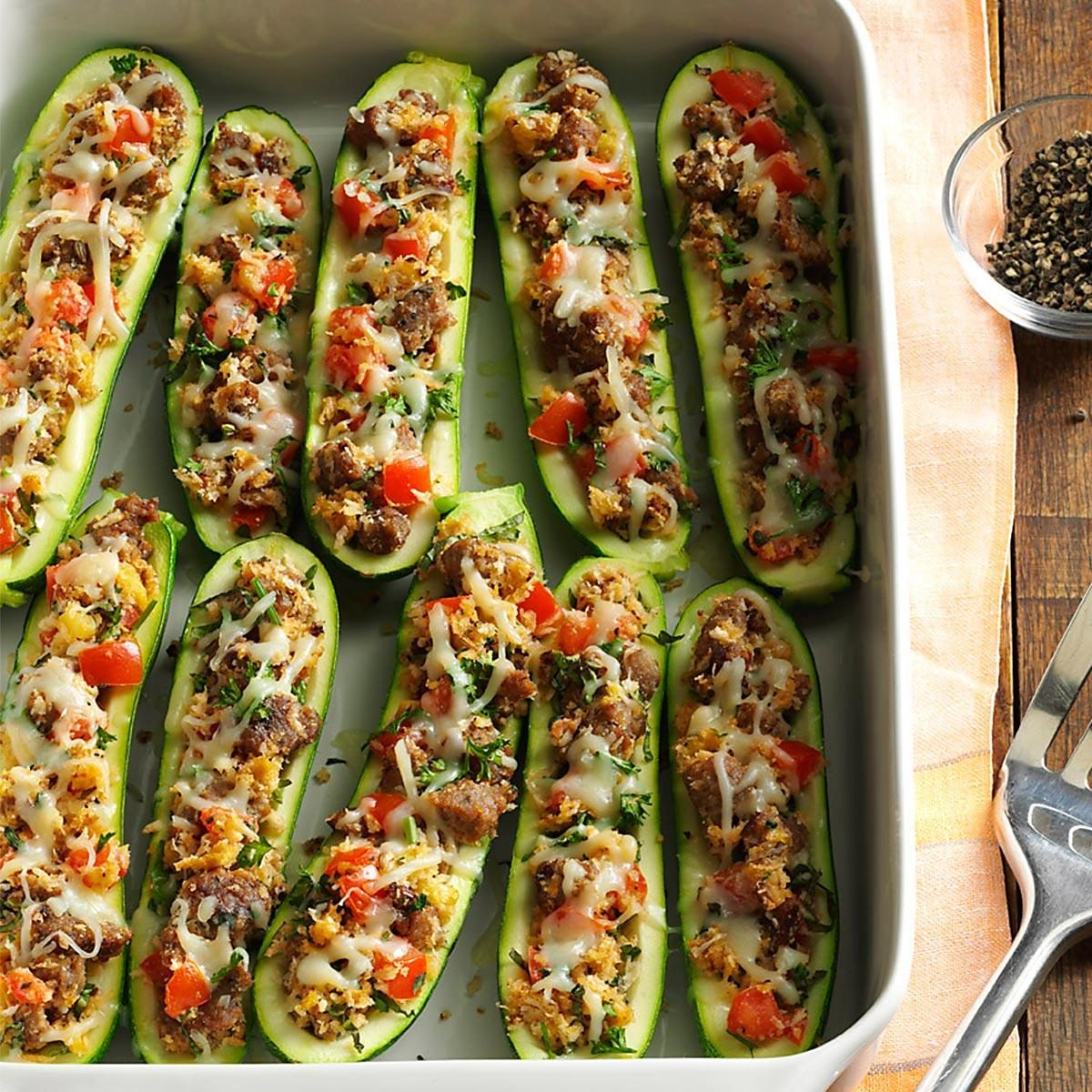 Italian sausage stuffed zucchini recipe taste of home forumfinder Choice Image
