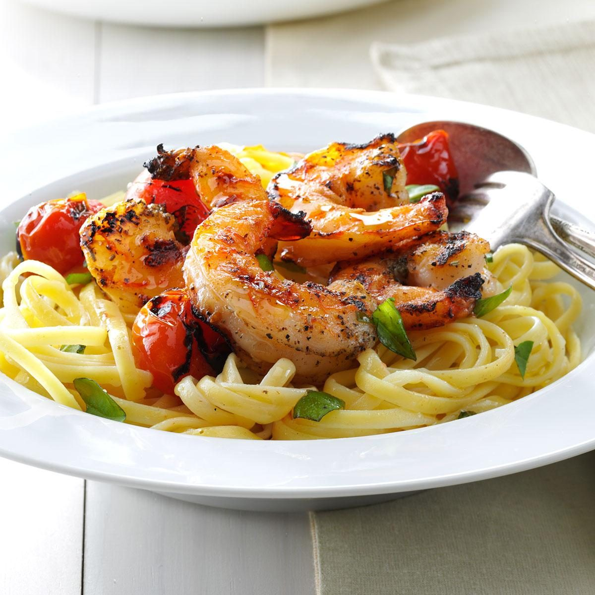 Grilled Shrimp & Tomatoes with Linguine Recipe | Taste of Home