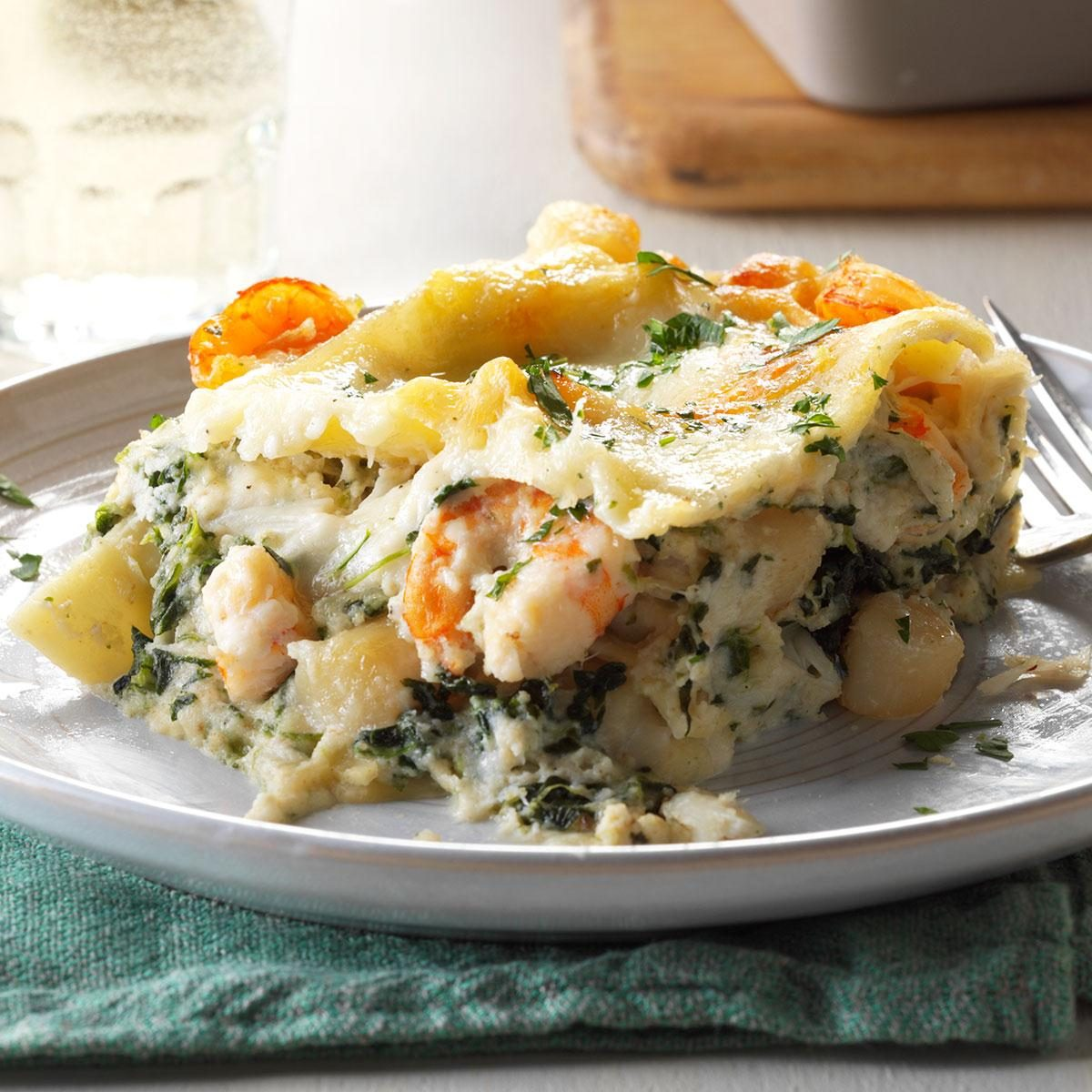 White Seafood Lasagna Recipe | Taste of Home