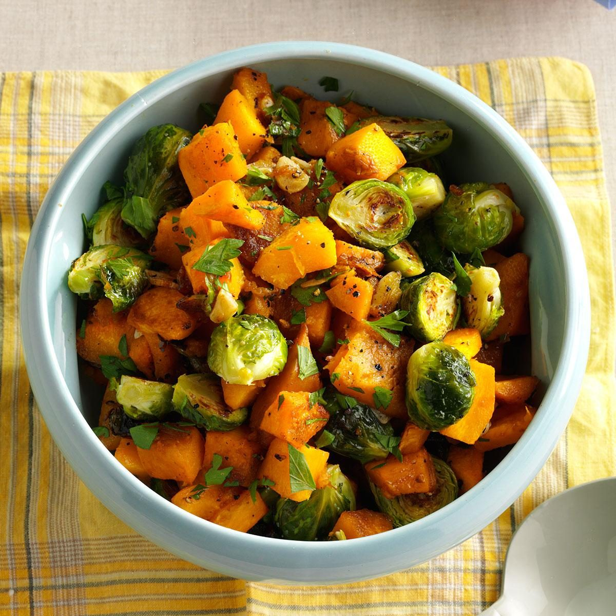 Roasted Pumpkin And Brussels Sprouts Recipe