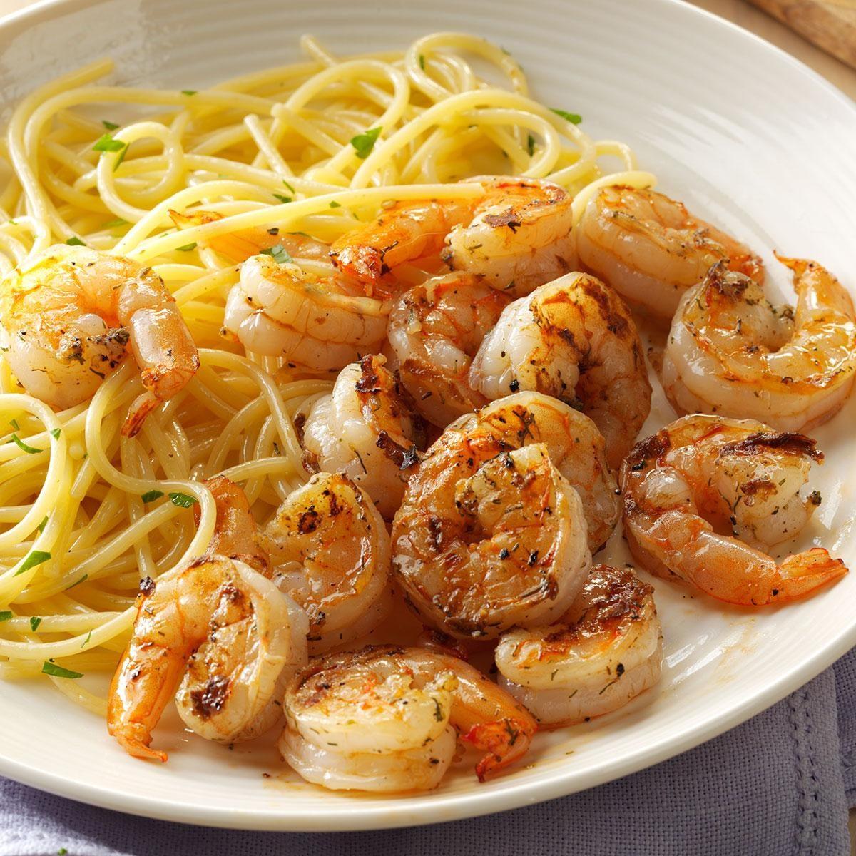 Grilled lemon dill shrimp recipe taste of home for Quick easy food to make for dinner