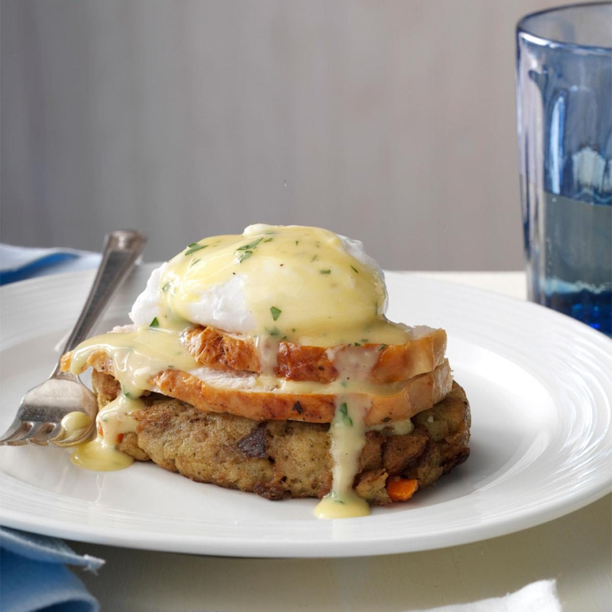 Turkey & Stuffing Eggs Benedict Recipe | Taste of Home
