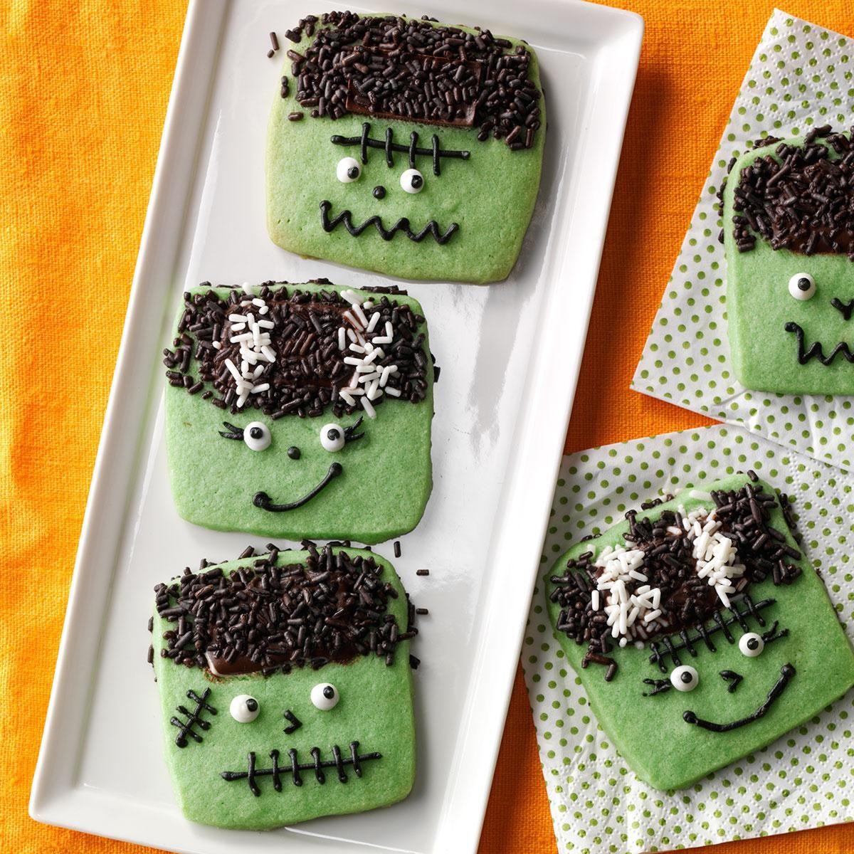 Freaky frankenstein cookies recipe taste of home for Easy halloween treats for work party