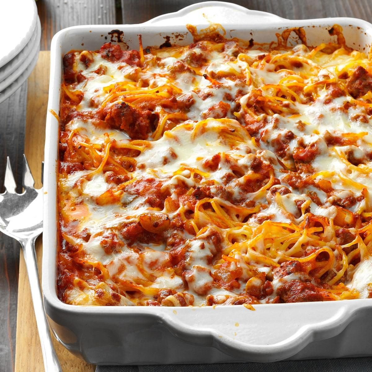 Mozzarella Baked Spaghetti Recipe | Taste of Home