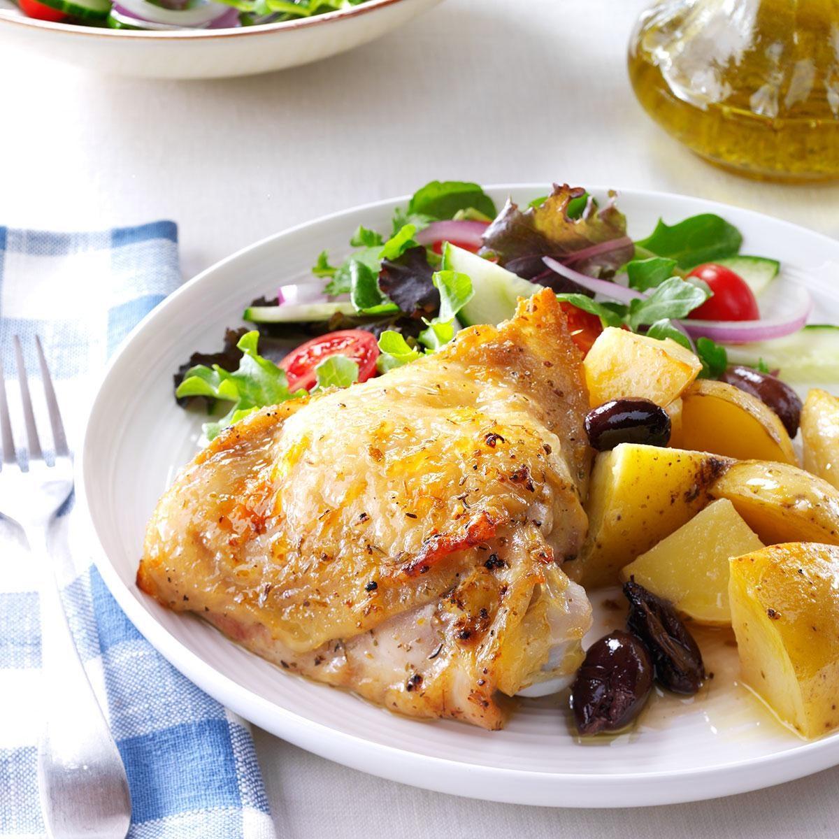 Greek-Style Lemon-Garlic Chicken Recipe | Taste of Home