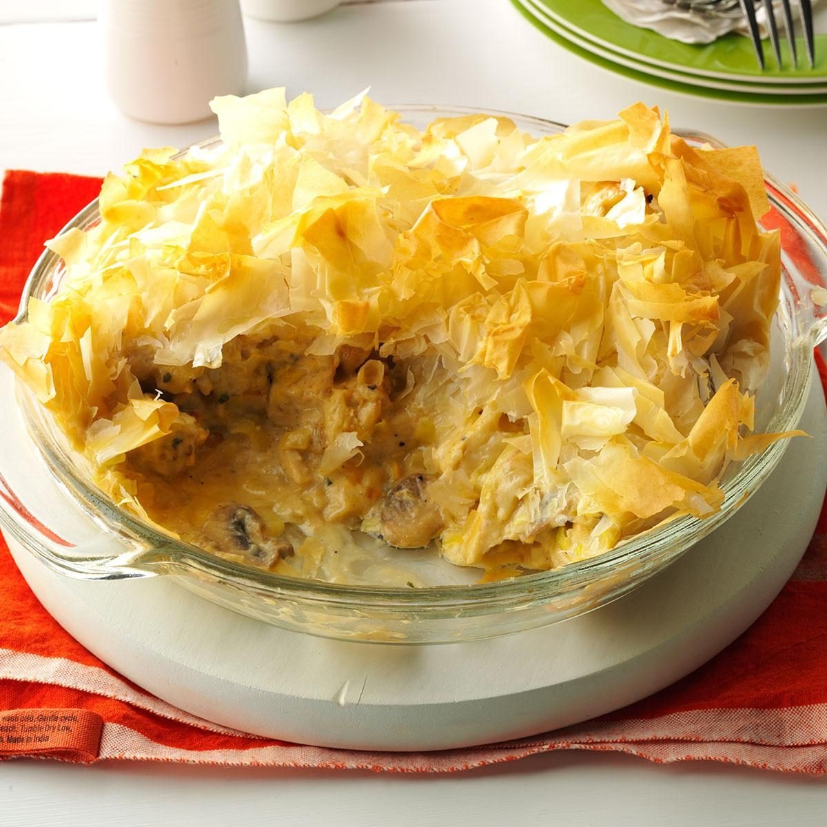 Cheesy Chicken and Leek Phyllo Pie Recipe Taste of Home