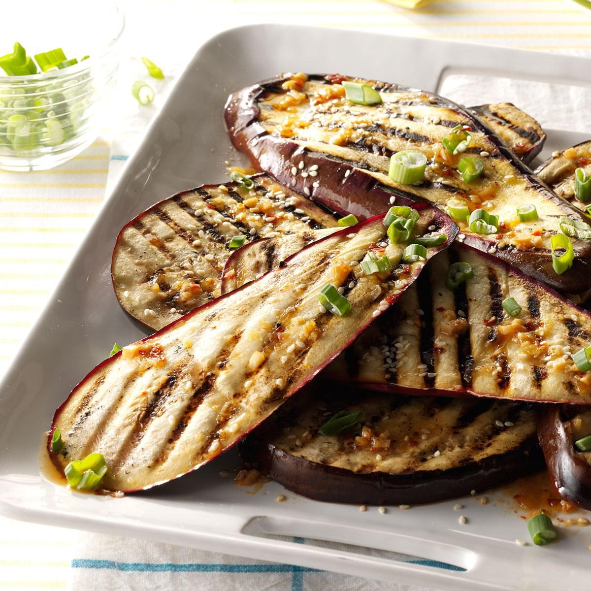 Lime and sesame grilled eggplant recipe taste of home for What sides go with barbecue chicken
