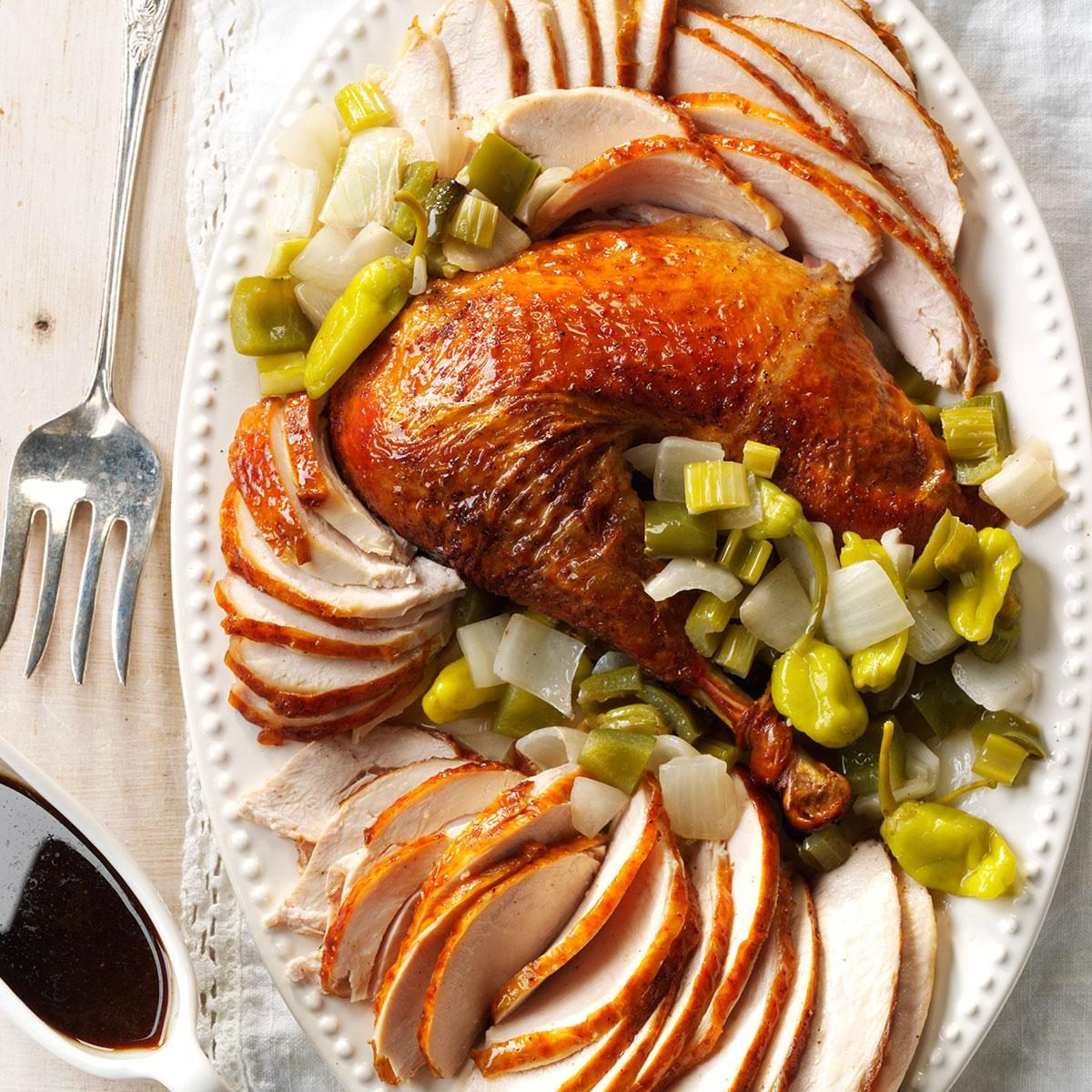 Get Recipe Creole Roasted Turkey With Holy Trinity Stuffing