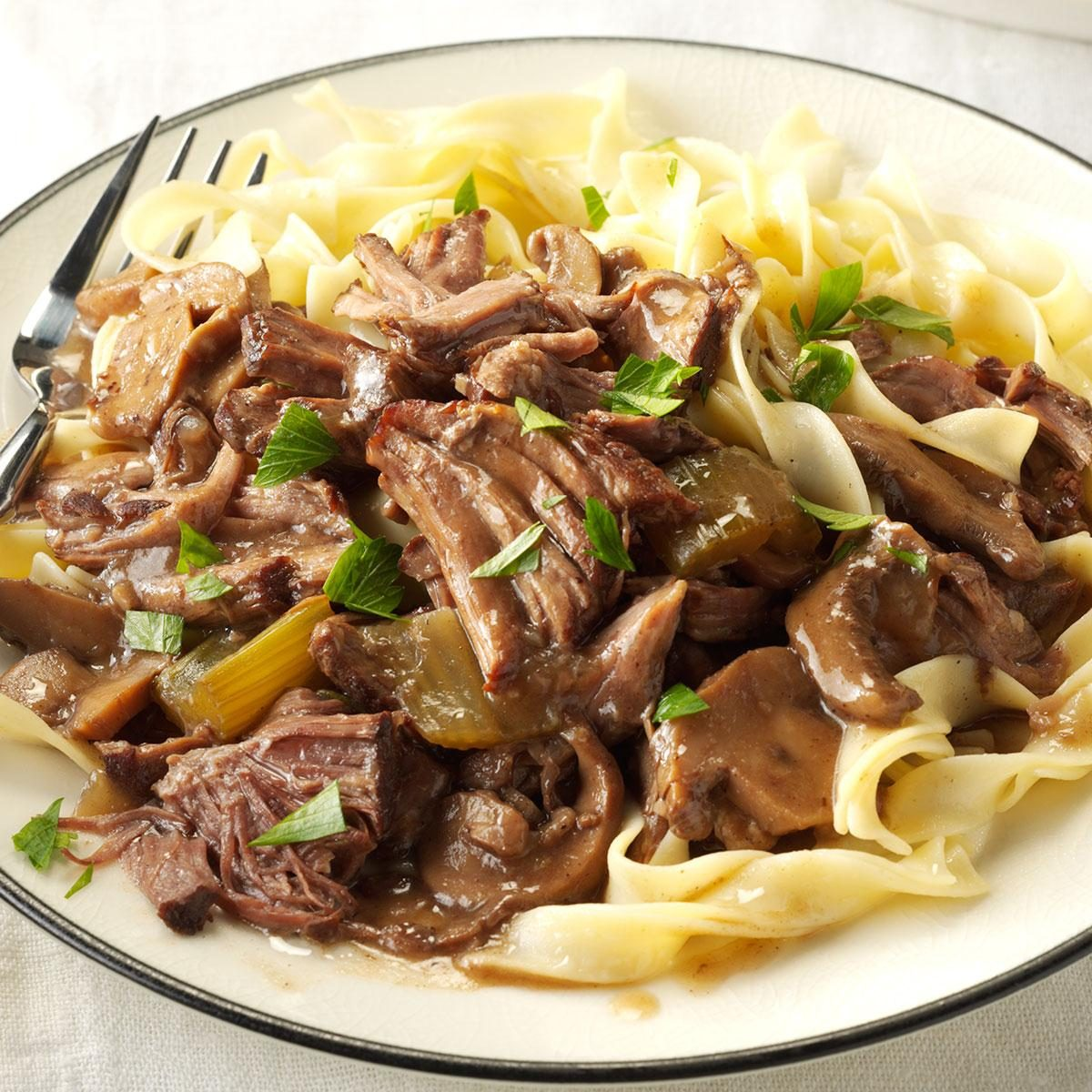 Festive slow cooked beef tips recipe taste of home for Hamburger dinner ideas for tonight