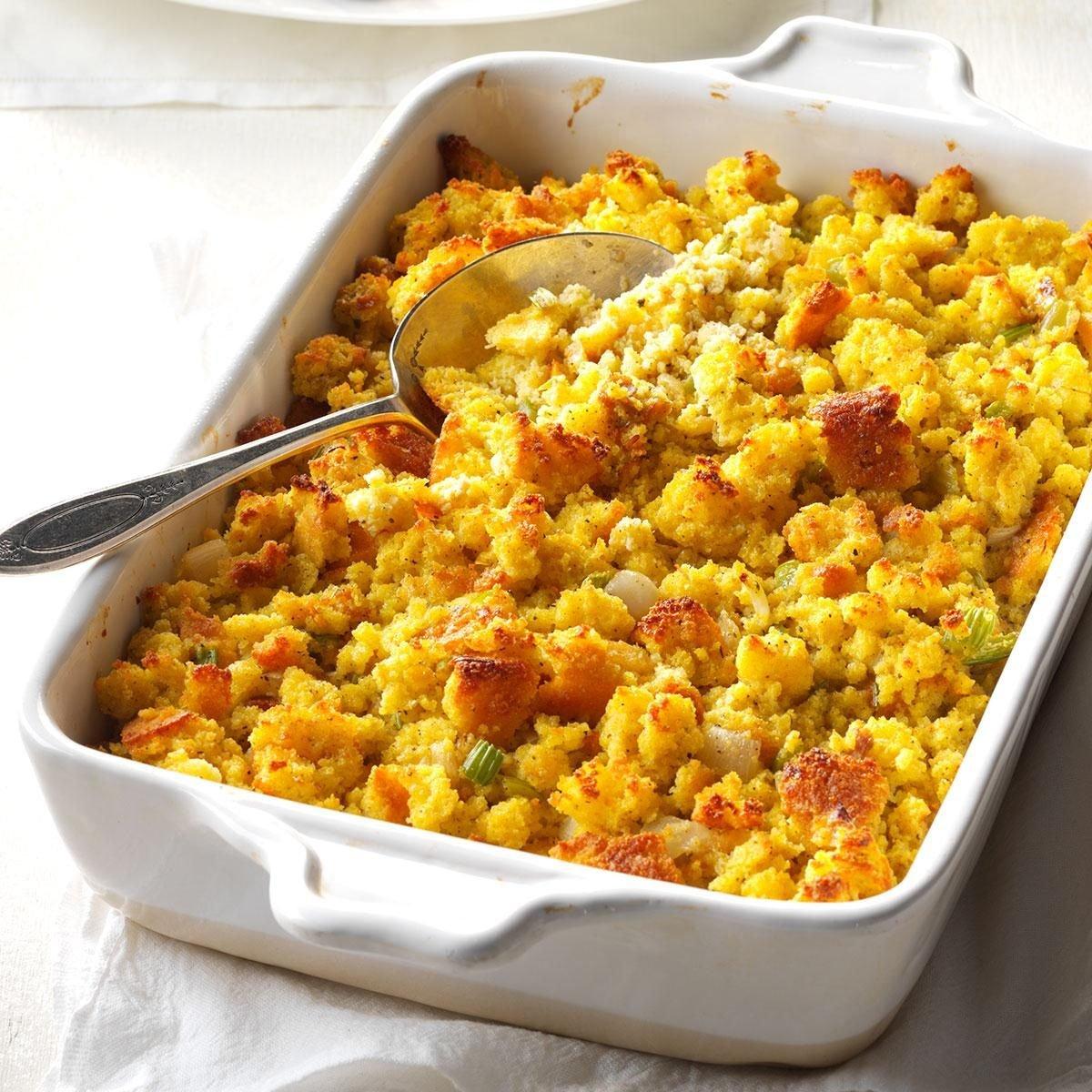 Grandma 39 s corn bread dressing recipe taste of home for Vegetarian christmas stuffing