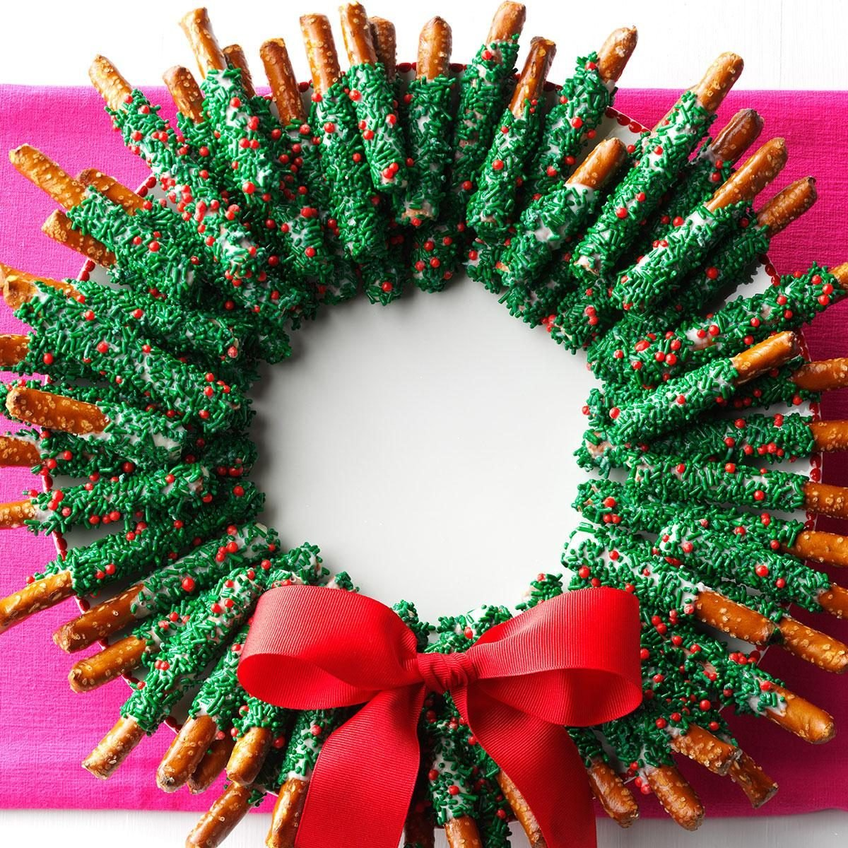 chocolate dipped pretzel wreath recipe taste of home