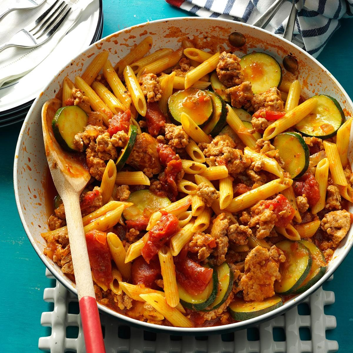 Jiffy Ground Pork Skillet Recipe | Taste of Home