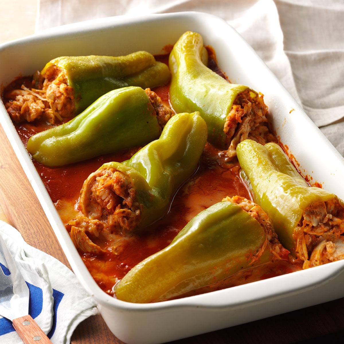 Chicken Stuffed Cubanelle Peppers Recipe Taste Of Home